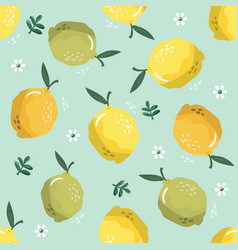 summer seamless pattern with lemons and blossom vector image