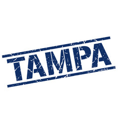 Tampa blue square stamp vector