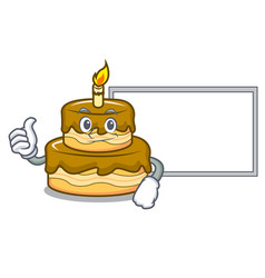 thumbs up with board birthday cake character vector image