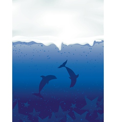 underwater with dancing dolphins and stars vector image