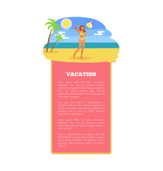 Vacation summer poster girl playing ball coastline vector