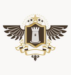 vintage decorative heraldic emblem composed vector image