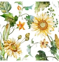 Watercolor sunflower pattern vector