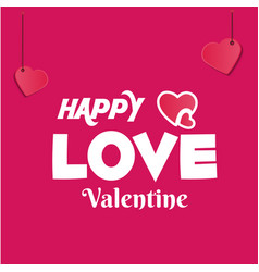 White happy love valentine hanging heart pink blac vector