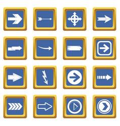 arrow icons set blue vector image