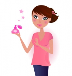 girl in pink with perfume vector image vector image