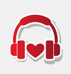 headphones with heart new year reddish vector image