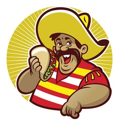 mascot mexican male with taco vector image