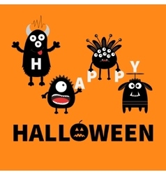 Black monsters holding letters Happy Halloween vector image vector image