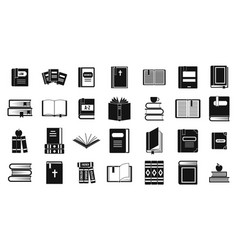 books icon set simple style vector image
