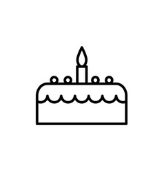 cake with candle line icon sign vector image