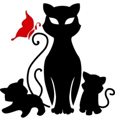 cat with kittens vector image vector image