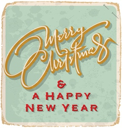 hand-lettered vintage christmas card vector image vector image