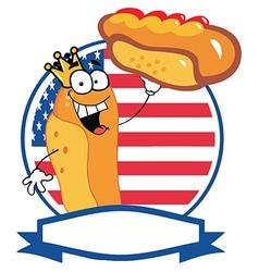 King Hot Dog Holding Up A Garnished Hot Dog vector image vector image