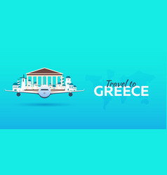 travel to greece airplane with attractions vector image vector image