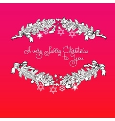 Xmas garland and handwritten words A Very Merry vector image vector image