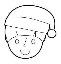 young boy smiling happy wearing christmas hat vector image