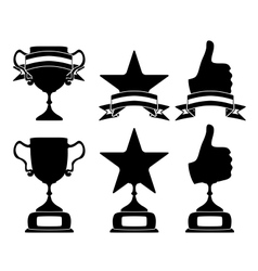 Black trophy and awards icons set vector image vector image
