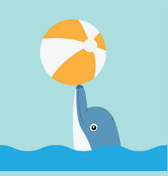dolphin playing with ball vector image