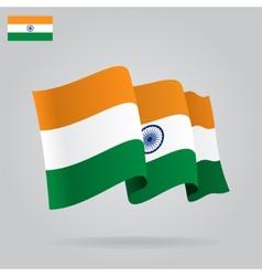 Flat and waving indian flag vector