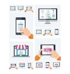 Flat design online shop website on various devices vector image vector image