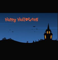 happy halloween night with castle vector image vector image