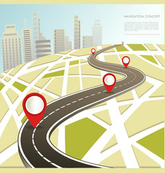 navigation map with location pinc car road vector image vector image