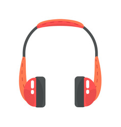 Orange wireless headphones colorful cartoon vector