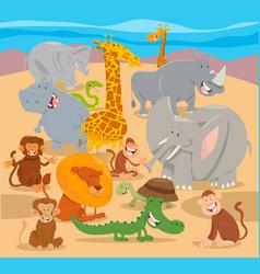 safari wild animal characters cartoon vector image vector image