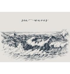 Sea or ocean waves drawing Sea view waves breaking vector image vector image
