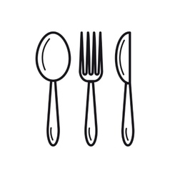 spoon fork knife - thin line icon vector image