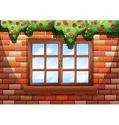 Sqaure window on brick wall vector image vector image