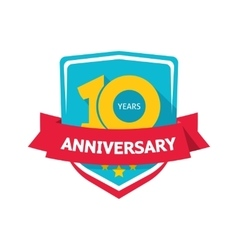 Ten years anniversary sticker color 10th vector