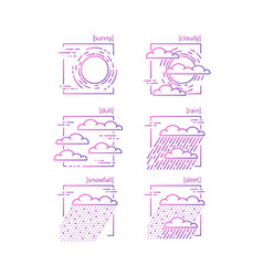 collection of line icons with symbols of weather vector image