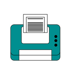 color contour cartoon blue printer device with vector image