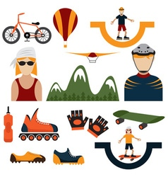 flat design icons of extreme sport theme vector image