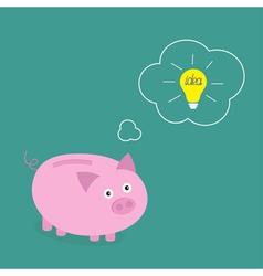 Piggy bank dream about idea light bulb Think bubbl vector image