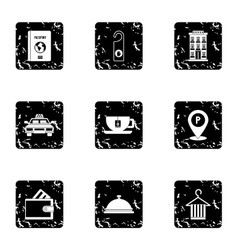 Staying in hotel icons set grunge style vector image