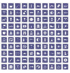 100 family camping icons set grunge sapphire vector