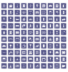 100 interior icons set grunge sapphire vector