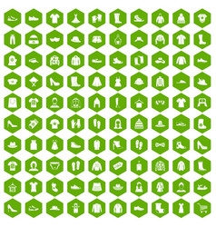 100 rags icons hexagon green vector