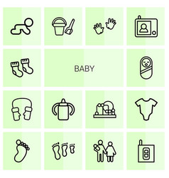 14 baby icons vector