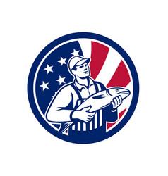 American fishmonger union jack flag mascot vector