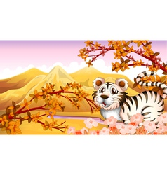 An autumn view with a tiger vector image