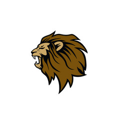 angry roaring lion head logo sign design vector image