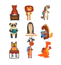 Animals studying and reading books set cute vector