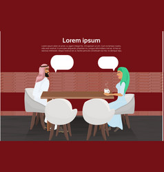Arab man and woman drinking coffee in modern cafe vector