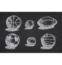 ball sketch set with shadow on ground on vector image