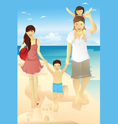 beach family vector image