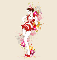 beautiful girl in red dress vector image